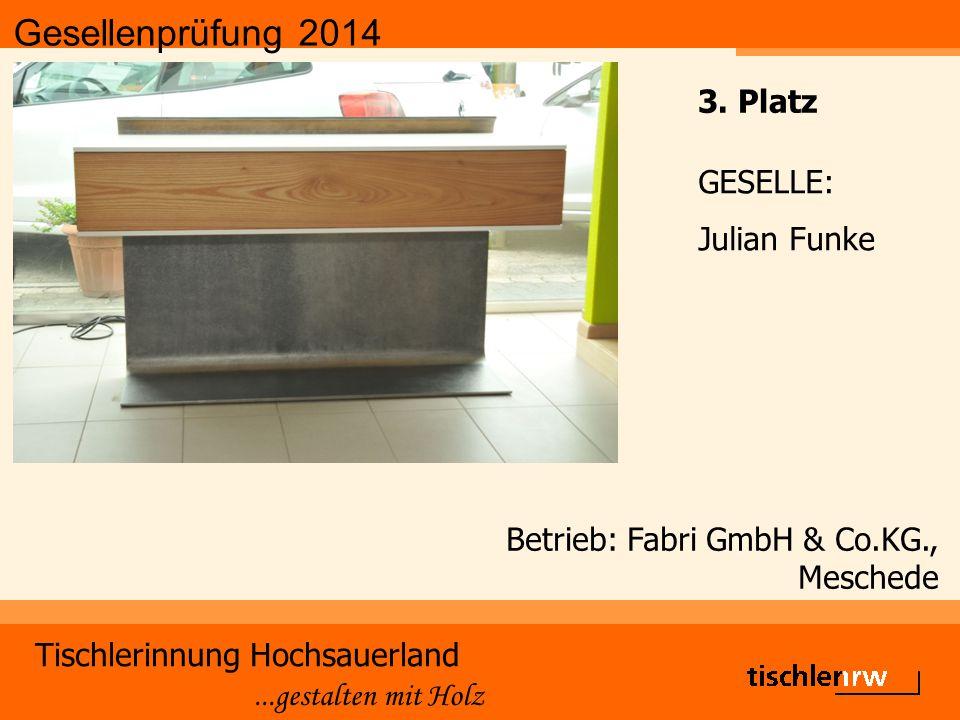 Gesellenprüfung 2014 Tischlerinnung Hochsauerland...gestalten mit Holz Betrieb: Fabri GmbH & Co.KG., Meschede GESELLE: Julian Funke 3.