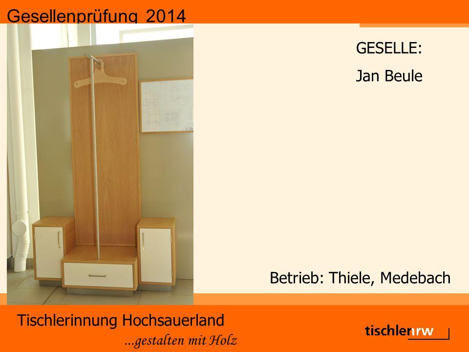 Gesellenprüfung 2014 Tischlerinnung Hochsauerland...gestalten mit Holz Betrieb: Thiele, Medebach GESELLE: Jan Beule
