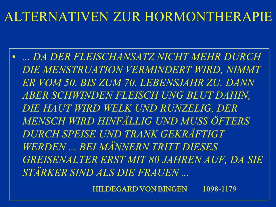 ALTERNATIVEN ZUR HORMONTHERAPIE... DA DER FLEISCHANSATZ NICHT MEHR DURCH DIE MENSTRUATION VERMINDERT WIRD, NIMMT ER VOM 50. BIS ZUM 70. LEBENSJAHR ZU.