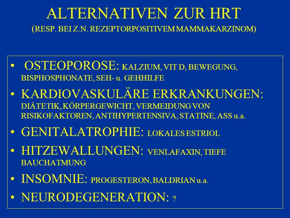 ALTERNATIVEN ZUR HRT ( RESP. BEI Z.N. REZEPTORPOSITIVEM MAMMAKARZINOM) OSTEOPOROSE: KALZIUM, VIT D, BEWEGUNG, BISPHOSPHONATE, SEH- u. GEHHILFE KARDIOV