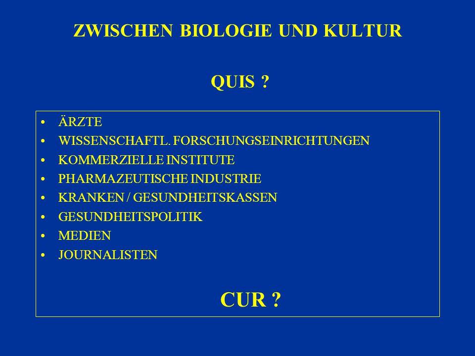 ZWISCHEN BIOLOGIE UND KULTUR ÄRZTE WISSENSCHAFTL. FORSCHUNGSEINRICHTUNGEN KOMMERZIELLE INSTITUTE PHARMAZEUTISCHE INDUSTRIE KRANKEN / GESUNDHEITSKASSEN