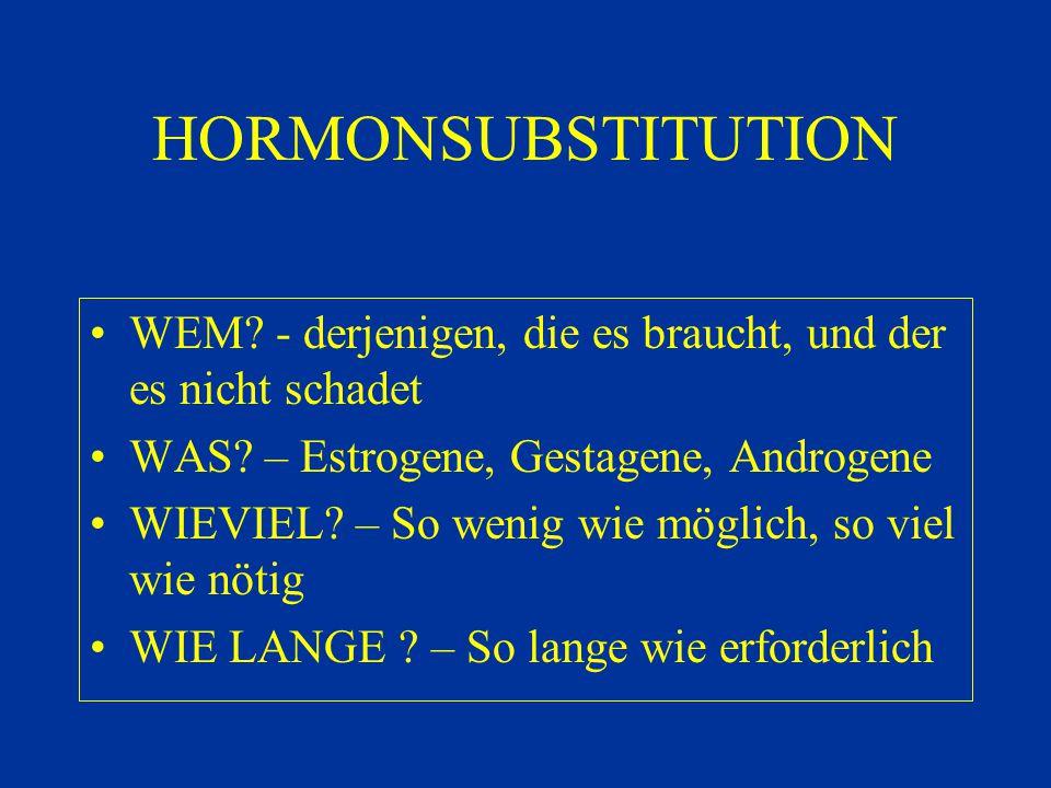 HORMONSUBSTITUTION SUBSTANZEN ESTROGENE – Estradiol, Estriol, Estradiolvalerat, -benzoat, konjugierte equine Estrogene, Ethinylestradiol, Phytoestrogene GESTAGENE – Progesteron, Progesteronderivate, 19-Nortetsosteronderivate, Drospirenon, Tibolon ANDROGENE – DHEA, Testosteronundekanoat, Testosteronpropionat, Androstanolon SONSTIGE – Pregnenolon