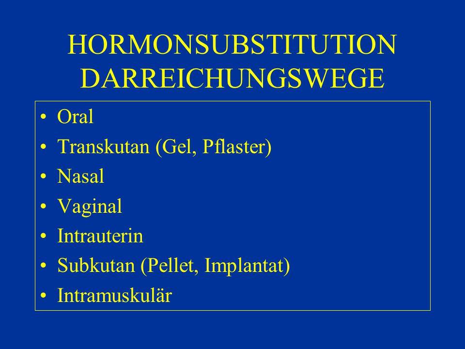 HORMONSUBSTITUTION DARREICHUNGSWEGE Oral Transkutan (Gel, Pflaster) Nasal Vaginal Intrauterin Subkutan (Pellet, Implantat) Intramuskulär