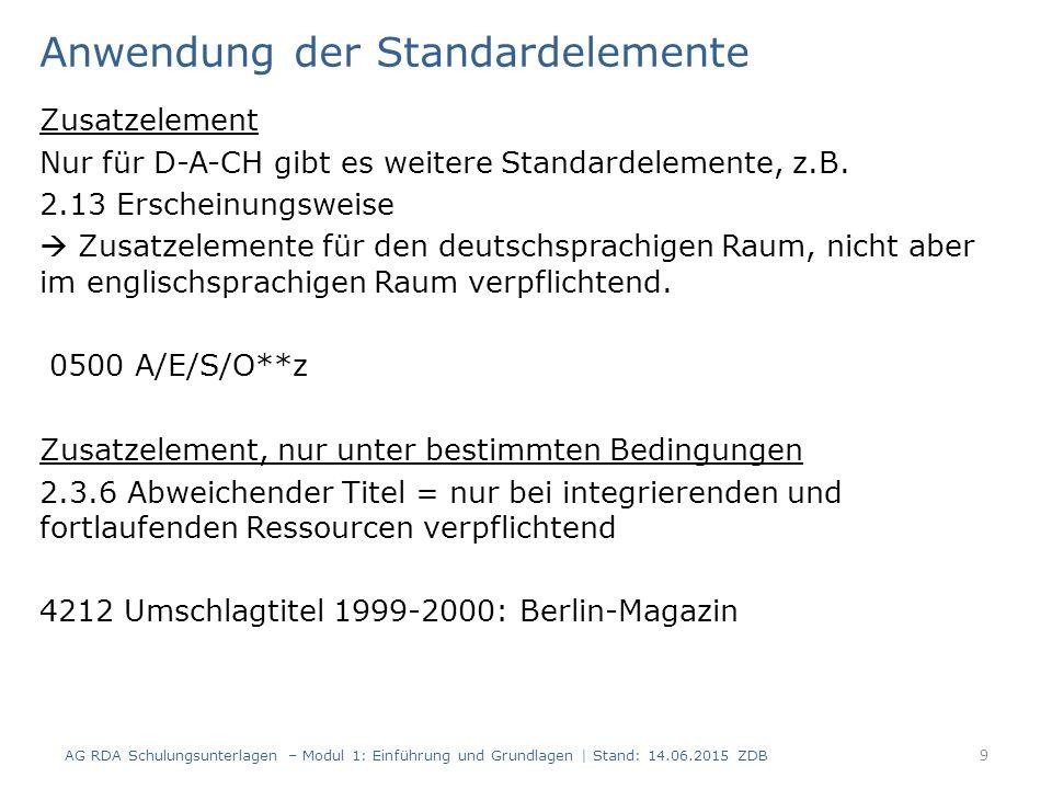 Anhang: fortlaufende Ressource Vorlage AG RDA Schulungsunterlagen – Modul 1: Einführung und Grundlagen | Stand: 14.06.2015 ZDB 10