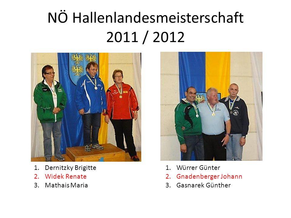 NÖ Hallenlandesmeisterschaft 2011 / 2012 1.Dernitzky Brigitte 2.Widek Renate 3.Mathais Maria 1.Würrer Günter 2.Gnadenberger Johann 3.Gasnarek Günther