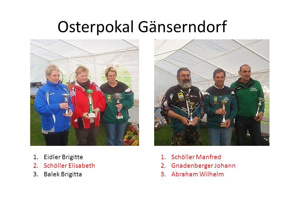 Osterpokal Gänserndorf 1.Eidler Brigitte 2.Schöller Elisabeth 3.Balek Brigitta 1.Schöller Manfred 2.Gnadenberger Johann 3.Abraham Wilhelm