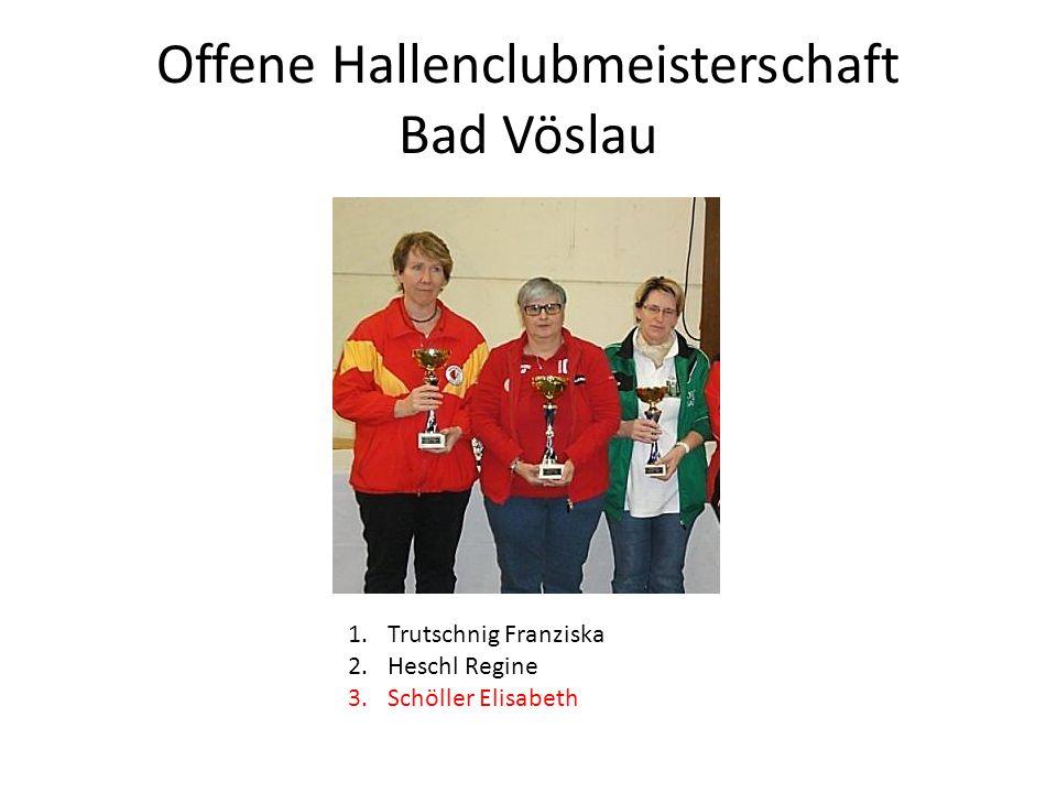 Offene Hallenclubmeisterschaft Bad Vöslau 1.Trutschnig Franziska 2.Heschl Regine 3.Schöller Elisabeth