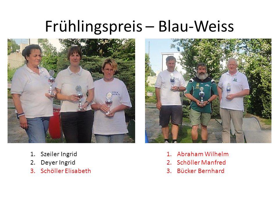 Frühlingspreis – Blau-Weiss 1.Szeiler Ingrid 2.Deyer Ingrid 3.Schöller Elisabeth 1.Abraham Wilhelm 2.Schöller Manfred 3.Bücker Bernhard