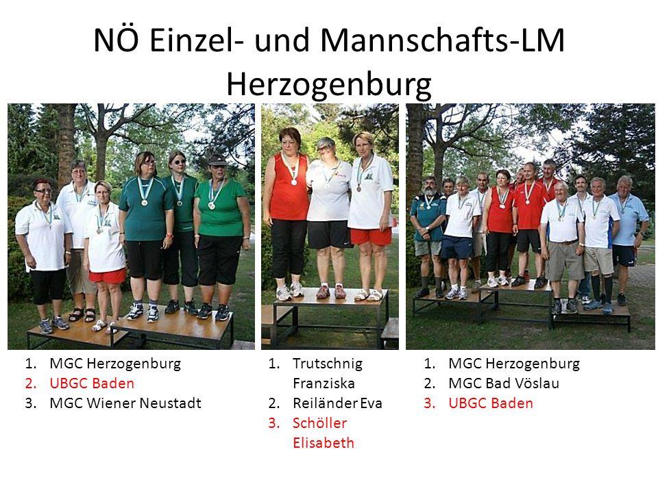 NÖ Einzel- und Mannschafts-LM Herzogenburg 1.MGC Herzogenburg 2.UBGC Baden 3.MGC Wiener Neustadt 1.MGC Herzogenburg 2.MGC Bad Vöslau 3.UBGC Baden 1.Tr