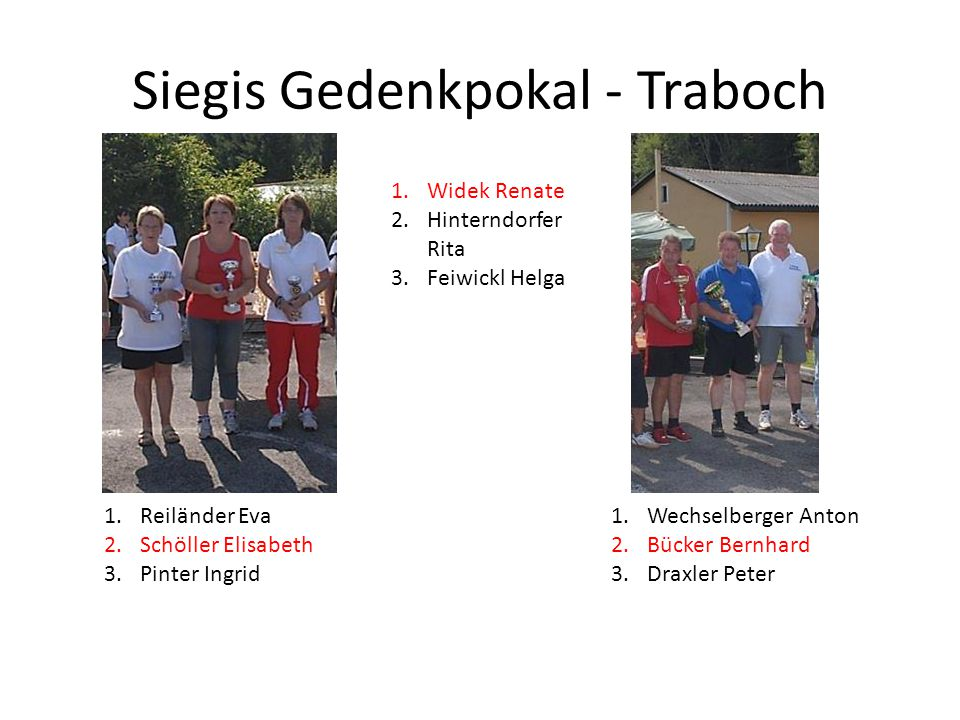 Siegis Gedenkpokal - Traboch 1.Widek Renate 2.Hinterndorfer Rita 3.Feiwickl Helga 1.Reiländer Eva 2.Schöller Elisabeth 3.Pinter Ingrid 1.Wechselberger