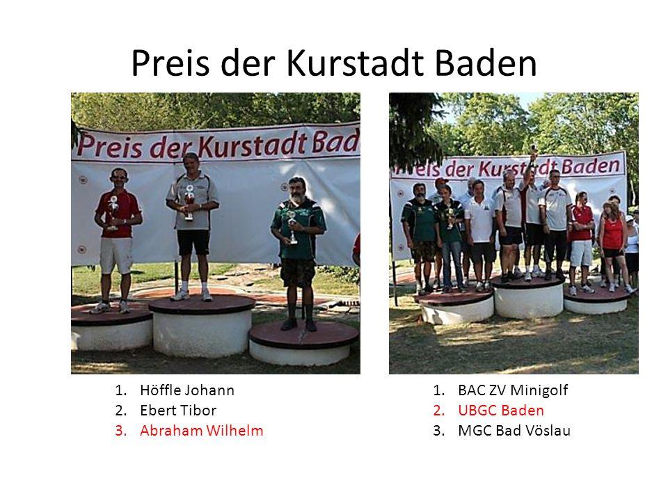 Preis der Kurstadt Baden 1.Höffle Johann 2.Ebert Tibor 3.Abraham Wilhelm 1.BAC ZV Minigolf 2.UBGC Baden 3.MGC Bad Vöslau