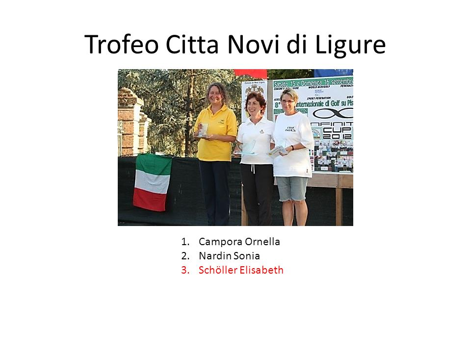 Trofeo Citta Novi di Ligure 1.Campora Ornella 2.Nardin Sonia 3.Schöller Elisabeth