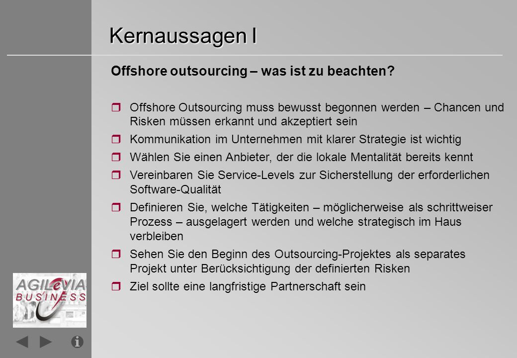 Kernaussagen II Offshore outsourcing – wie geht man vor.