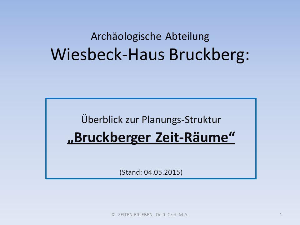 """Archäologische Abteilung Wiesbeck-Haus Bruckberg: Überblick zur Planungs-Struktur """"Bruckberger Zeit-Räume"""" (Stand: 04.05.2015) © ZEITEN-ERLEBEN, Dr. R"""