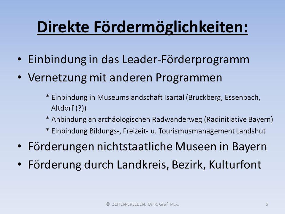 Direkte Fördermöglichkeiten: © ZEITEN-ERLEBEN, Dr. R. Graf M.A.6 Einbindung in das Leader-Förderprogramm Vernetzung mit anderen Programmen * Einbindun