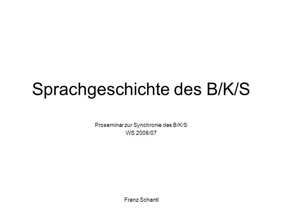 Sprachgeschichte des B/K/S Proseminar zur Synchronie des B/K/S WS 2006/07 Franz Schantl