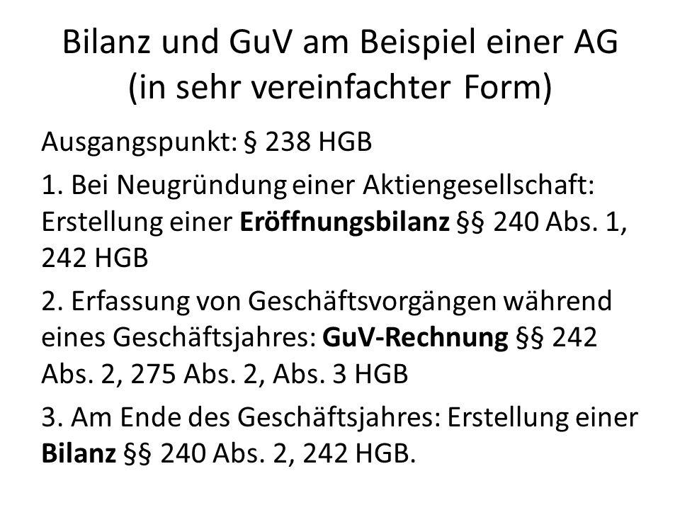 Bilanz und GuV am Beispiel einer AG (in sehr vereinfachter Form) Ausgangspunkt: § 238 HGB 1. Bei Neugründung einer Aktiengesellschaft: Erstellung eine
