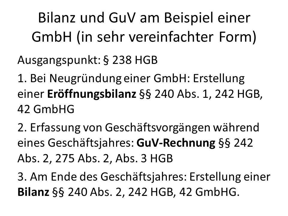 Bilanz und GuV am Beispiel einer GmbH (in sehr vereinfachter Form) Ausgangspunkt: § 238 HGB 1. Bei Neugründung einer GmbH: Erstellung einer Eröffnungs