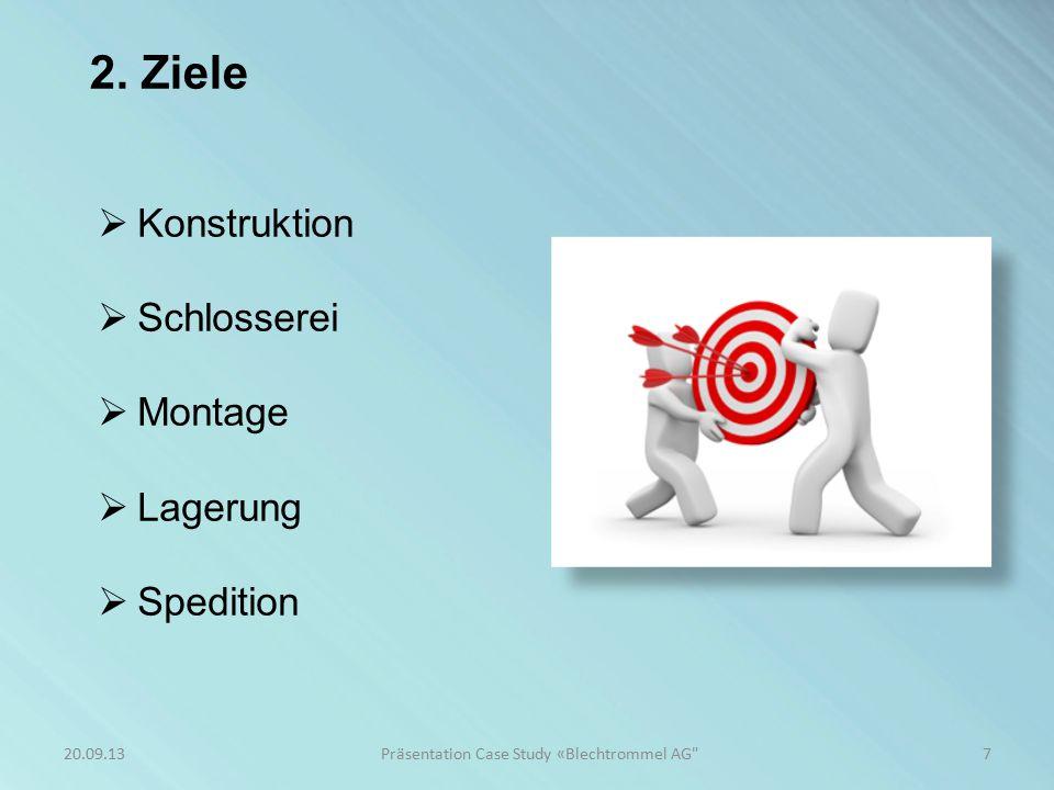 2. Ziele  Konstruktion  Schlosserei  Montage  Lagerung  Spedition 7Präsentation Case Study «Blechtrommel AG