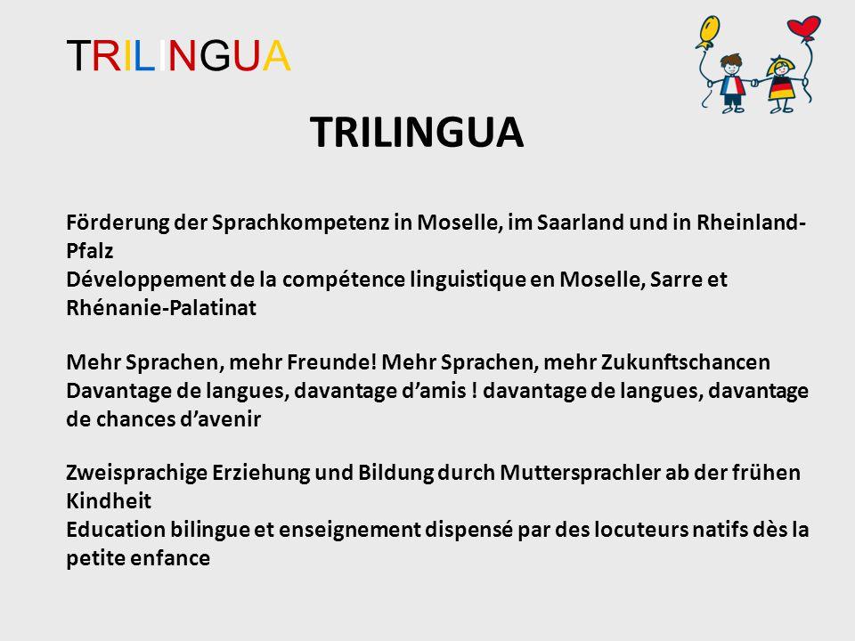 TRILINGUATRILINGUA Förderung der Sprachkompetenz in Moselle, im Saarland und in Rheinland- Pfalz Développement de la compétence linguistique en Moselle, Sarre et Rhénanie-Palatinat Mehr Sprachen, mehr Freunde.