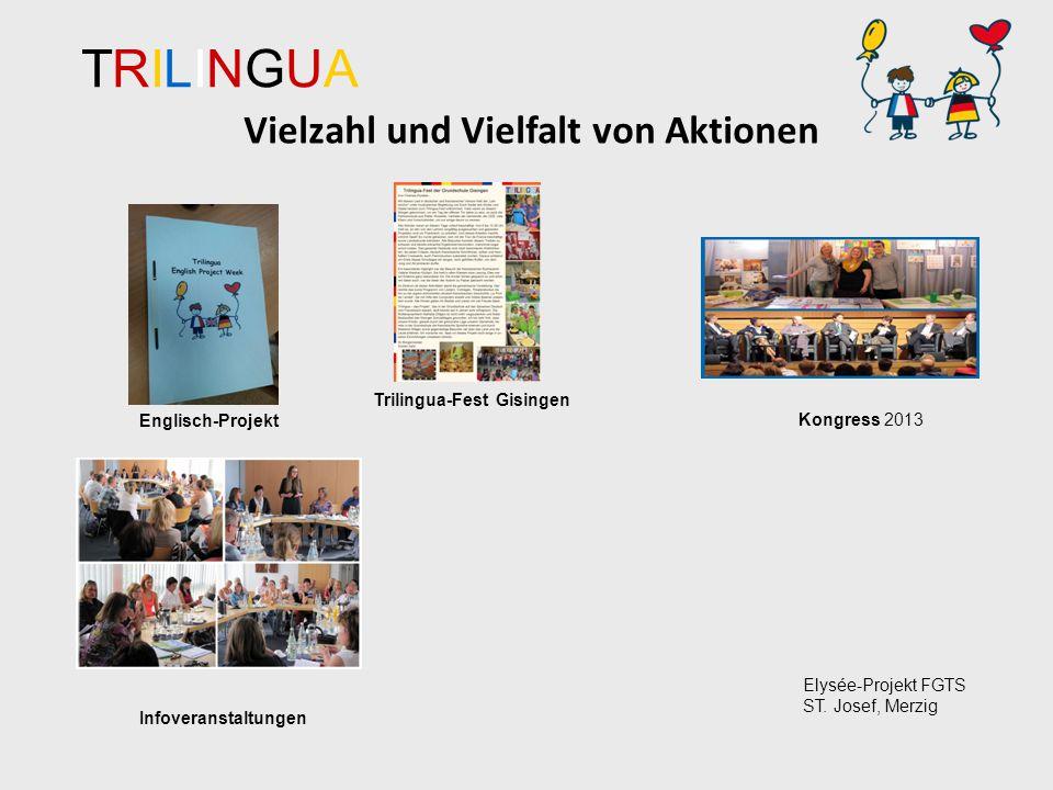 TRILINGUATRILINGUA Vielzahl und Vielfalt von Aktionen Infoveranstaltungen Kongress 2013 Elysée-Projekt FGTS ST.