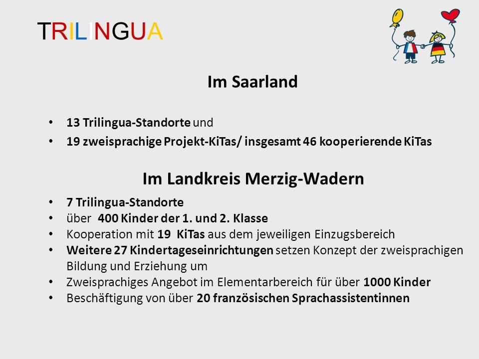TRILINGUATRILINGUA Im Saarland 13 Trilingua-Standorte und 19 zweisprachige Projekt-KiTas/ insgesamt 46 kooperierende KiTas Im Landkreis Merzig-Wadern 7 Trilingua-Standorte über 400 Kinder der 1.