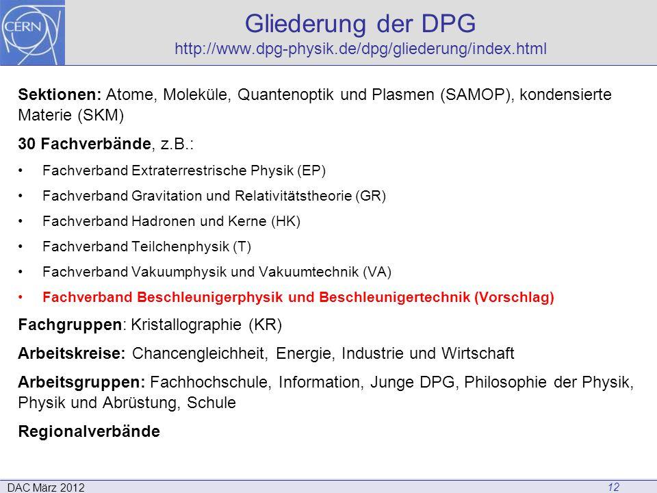 Gliederung der DPG http://www.dpg-physik.de/dpg/gliederung/index.html Sektionen: Atome, Moleküle, Quantenoptik und Plasmen (SAMOP), kondensierte Mater