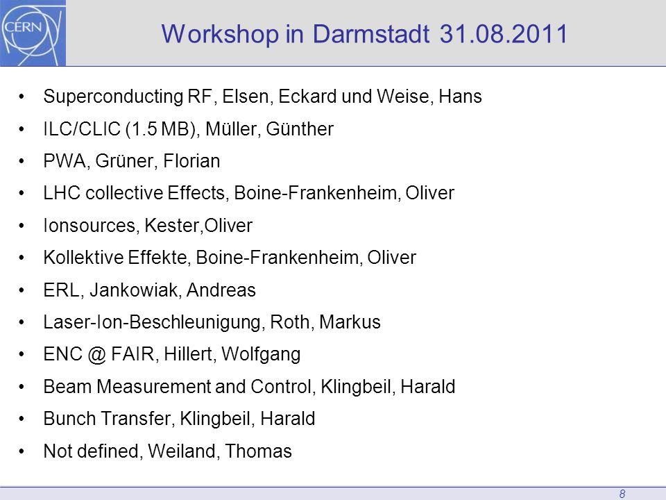 8 Workshop in Darmstadt 31.08.2011 Superconducting RF, Elsen, Eckard und Weise, Hans ILC/CLIC (1.5 MB), Müller, Günther PWA, Grüner, Florian LHC colle