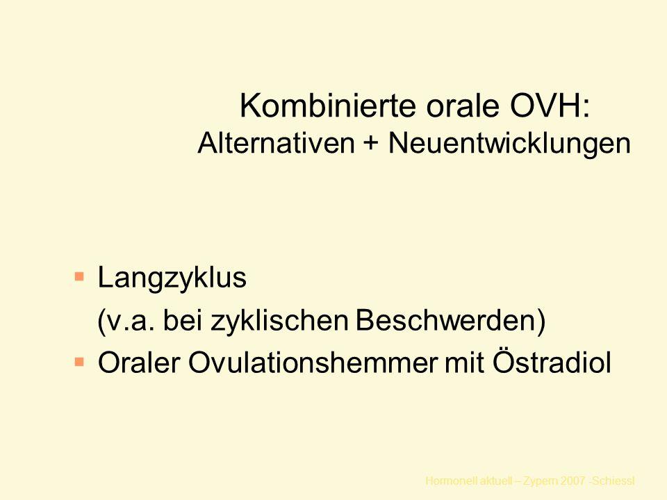 Hormonell aktuell – Zypern 2007 -Schiessl Kombinierte orale OVH: Alternativen + Neuentwicklungen  Langzyklus (v.a. bei zyklischen Beschwerden)  Oral
