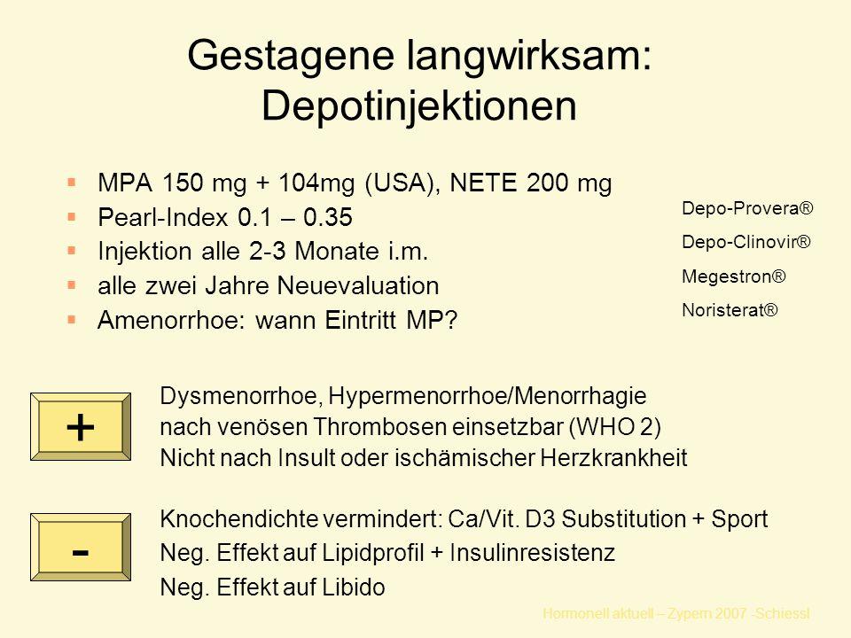 Hormonell aktuell – Zypern 2007 -Schiessl Gestagene langwirksam: Depotinjektionen  MPA 150 mg + 104mg (USA), NETE 200 mg  Pearl-Index 0.1 – 0.35  I