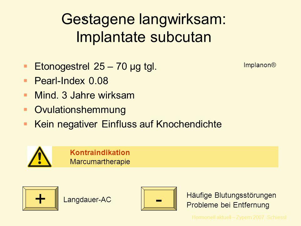 Hormonell aktuell – Zypern 2007 -Schiessl Gestagene langwirksam: Implantate subcutan Häufige Blutungsstörungen Probleme bei Entfernung  Etonogestrel 25 – 70 μg tgl.