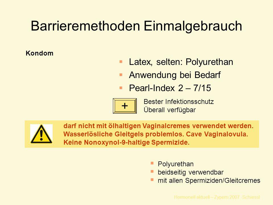 Hormonell aktuell – Zypern 2007 -Schiessl Barrieremethoden Einmalgebrauch  Latex, selten: Polyurethan  Anwendung bei Bedarf  Pearl-Index 2 – 7/15 Kondom Bester Infektionsschutz Überall verfügbar darf nicht mit ölhaltigen Vaginalcremes verwendet werden.