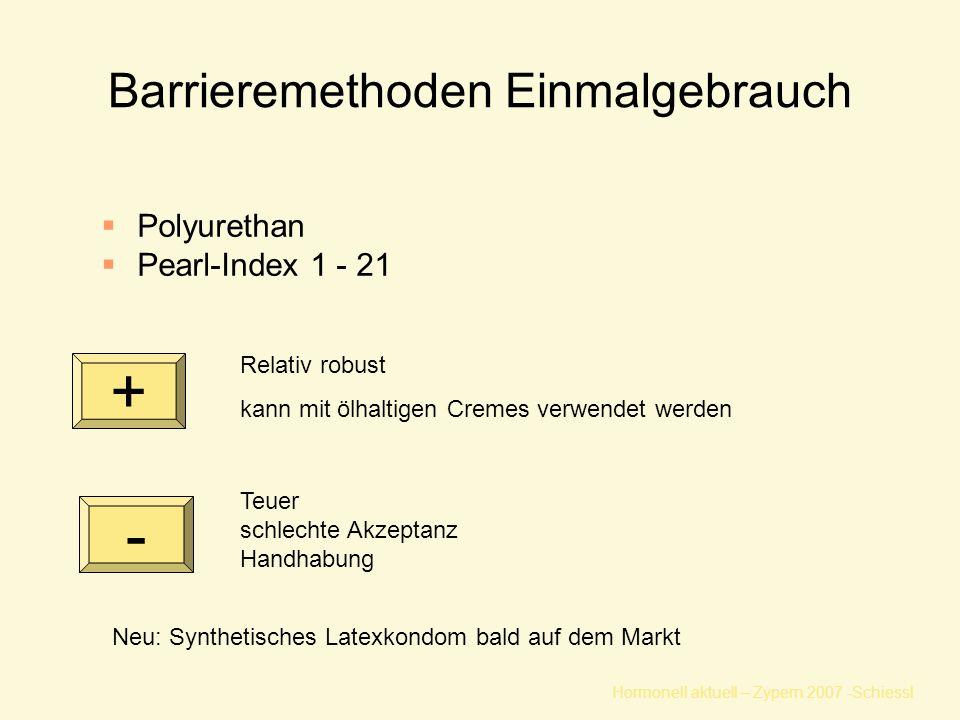Hormonell aktuell – Zypern 2007 -Schiessl Barrieremethoden Einmalgebrauch  Polyurethan  Pearl-Index 1 - 21 Teuer schlechte Akzeptanz Handhabung Relativ robust kann mit ölhaltigen Cremes verwendet werden Neu: Synthetisches Latexkondom bald auf dem Markt + -