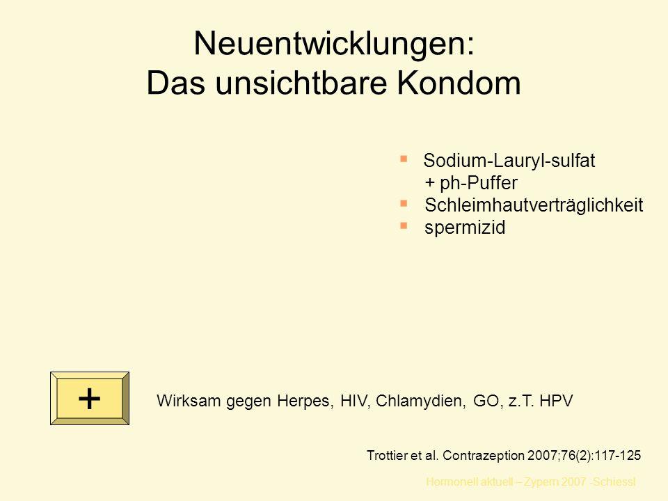 Hormonell aktuell – Zypern 2007 -Schiessl Neuentwicklungen: Das unsichtbare Kondom Trottier et al. Contrazeption 2007;76(2):117-125  Sodium-Lauryl-su