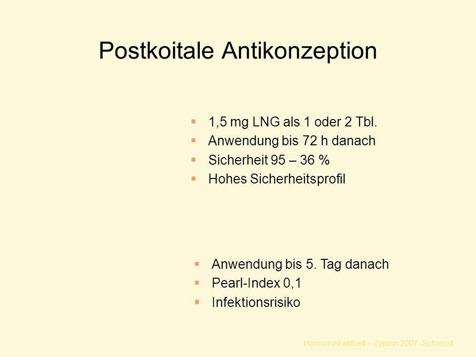 Hormonell aktuell – Zypern 2007 -Schiessl Postkoitale Antikonzeption  1,5 mg LNG als 1 oder 2 Tbl.  Anwendung bis 72 h danach  Sicherheit 95 – 36 %