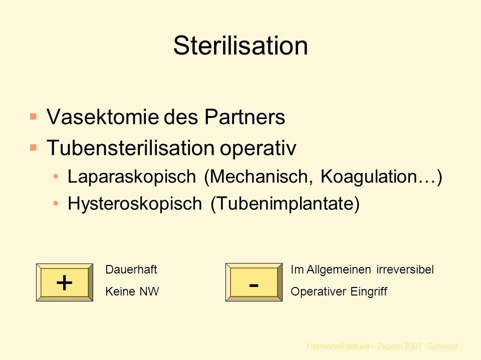 Hormonell aktuell – Zypern 2007 -Schiessl Sterilisation  Vasektomie des Partners  Tubensterilisation operativ Laparaskopisch (Mechanisch, Koagulation…) Hysteroskopisch (Tubenimplantate) Im Allgemeinen irreversibel Operativer Eingriff Dauerhaft Keine NW + -