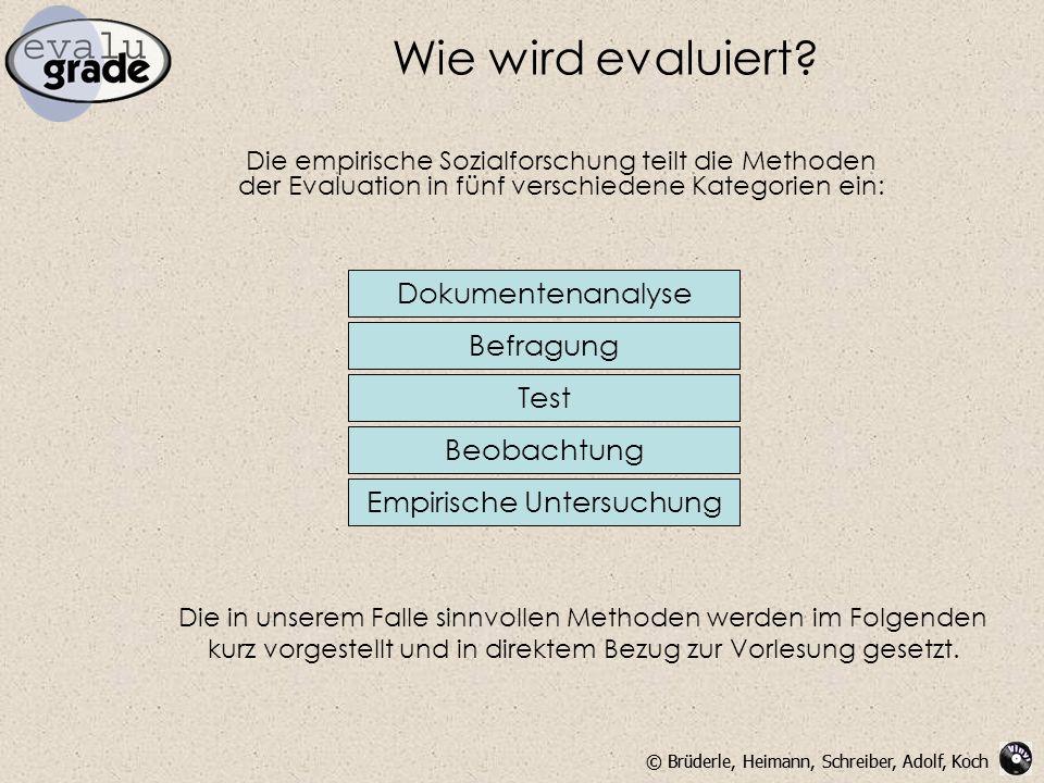 © Brüderle, Heimann, Schreiber, Adolf, Koch Wie wird evaluiert? Die empirische Sozialforschung teilt die Methoden der Evaluation in fünf verschiedene