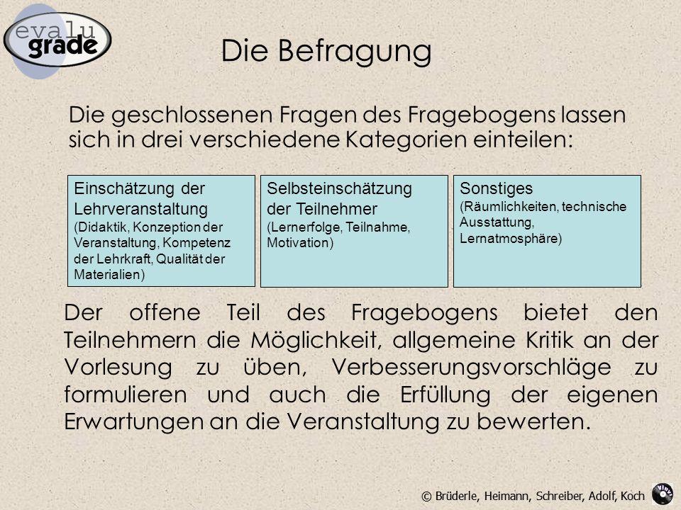 © Brüderle, Heimann, Schreiber, Adolf, Koch Die Befragung Die geschlossenen Fragen des Fragebogens lassen sich in drei verschiedene Kategorien einteil