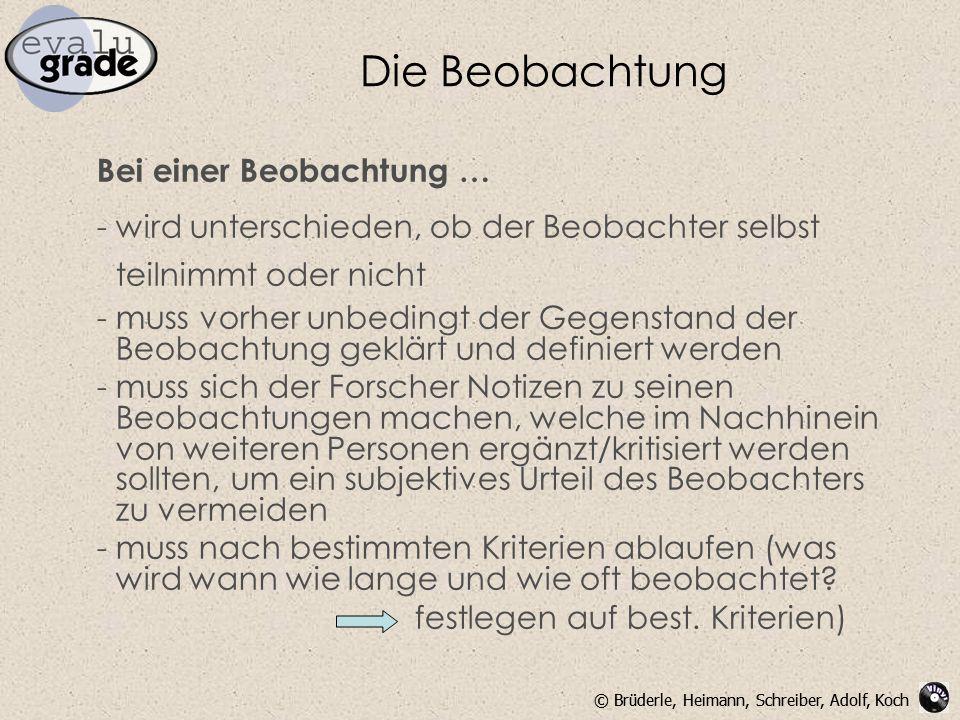 © Brüderle, Heimann, Schreiber, Adolf, Koch Die Beobachtung Bei einer Beobachtung … - wird unterschieden, ob der Beobachter selbst teilnimmt oder nich