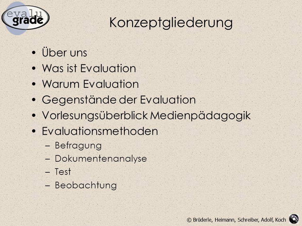 © Brüderle, Heimann, Schreiber, Adolf, Koch Konzeptgliederung Über uns Was ist Evaluation Warum Evaluation Gegenstände der Evaluation Vorlesungsüberblick Medienpädagogik Evaluationsmethoden –Befragung –Dokumentenanalyse –Test –Beobachtung
