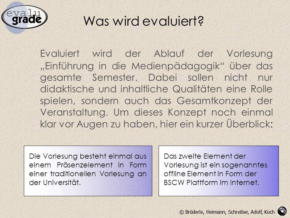 """© Brüderle, Heimann, Schreiber, Adolf, Koch Was wird evaluiert? Evaluiert wird der Ablauf der Vorlesung """"Einführung in die Medienpädagogik"""" über das g"""