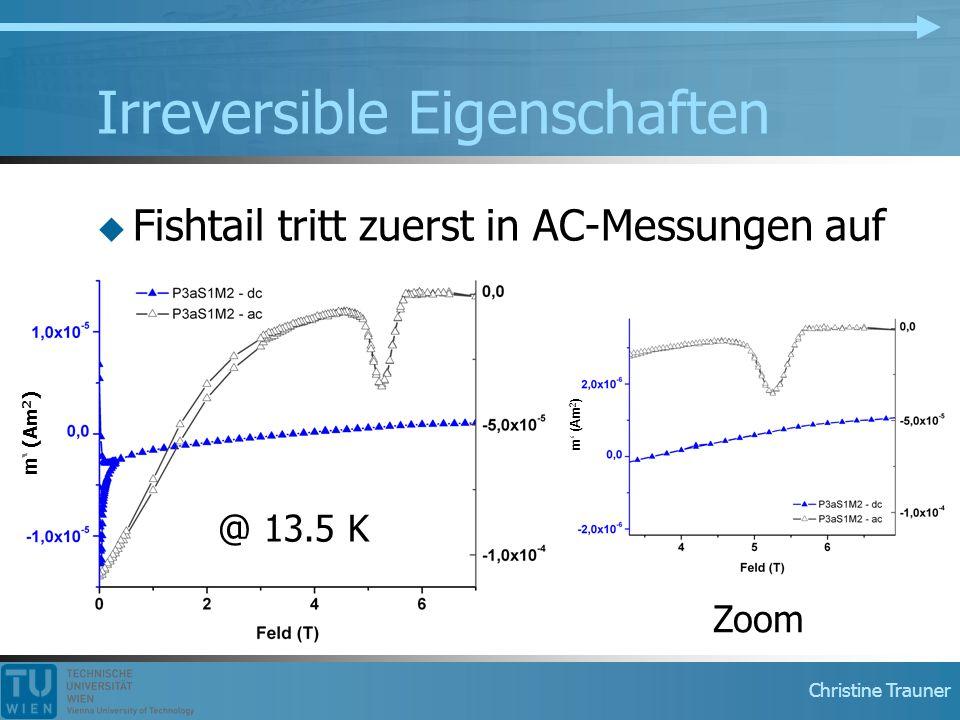 Christine Trauner Irreversible Eigenschaften  Fishtail tritt zuerst in AC-Messungen auf @ 13.5 K Zoom m' (Am 2 )