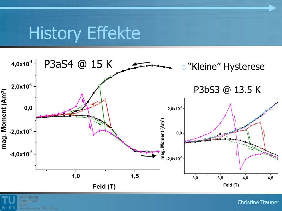 """Christine Trauner History Effekte P3aS4 @ 15 K P3bS3 @ 13.5 K  """"Kleine"""" Hysterese"""