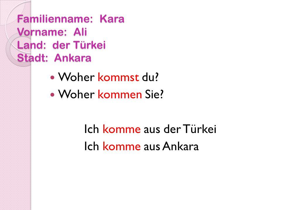 Familienname: Kara Vorname: Ali Land: der Türkei Stadt: Ankara Woher kommst du.