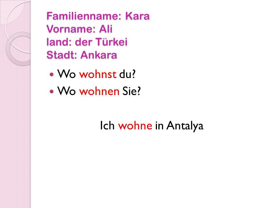Familienname: Kara Vorname: Ali land: der Türkei Stadt: Ankara Wo wohnst du.
