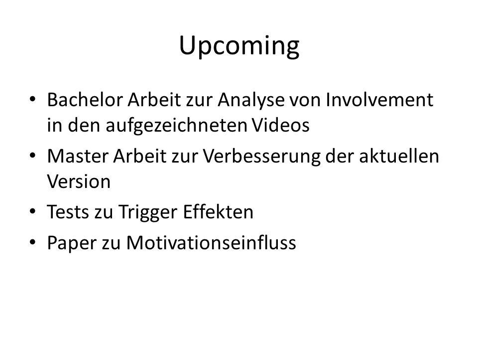 Upcoming Bachelor Arbeit zur Analyse von Involvement in den aufgezeichneten Videos Master Arbeit zur Verbesserung der aktuellen Version Tests zu Trigg