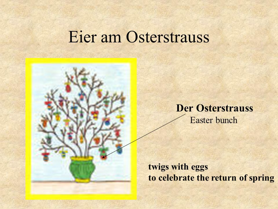 Eier am Osterstrauss Der Osterstrauss Easter bunch twigs with eggs to celebrate the return of spring