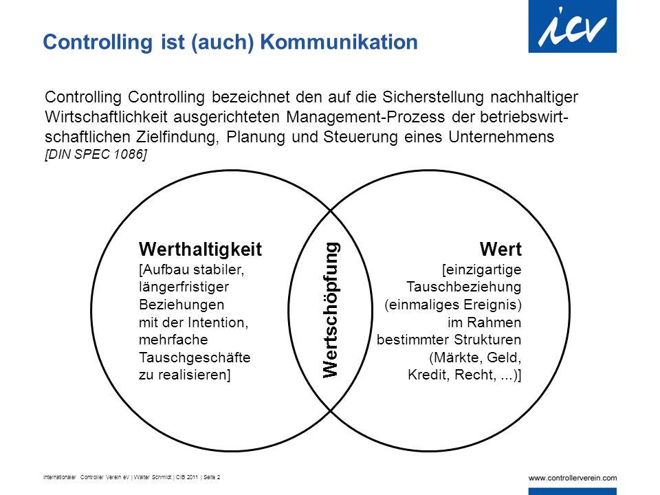 Internationaler Controller Verein eV | Walter Schmidt | CIB 2011 | Seite 2 Werthaltigkeit [Aufbau stabiler, längerfristiger Beziehungen mit der Intention, mehrfache Tauschgeschäfte zu realisieren] Wert [einzigartige Tauschbeziehung (einmaliges Ereignis) im Rahmen bestimmter Strukturen (Märkte, Geld, Kredit, Recht,...)] Wertschöpfung Controlling ist (auch) Kommunikation Controlling Controlling bezeichnet den auf die Sicherstellung nachhaltiger Wirtschaftlichkeit ausgerichteten Management-Prozess der betriebswirt- schaftlichen Zielfindung, Planung und Steuerung eines Unternehmens [DIN SPEC 1086]