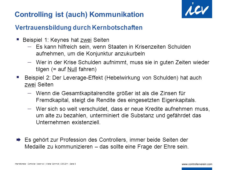 Internationaler Controller Verein eV | Walter Schmidt | CIB 2011 | Seite 5 Vertrauensbildung durch Kernbotschaften Controlling ist (auch) Kommunikatio