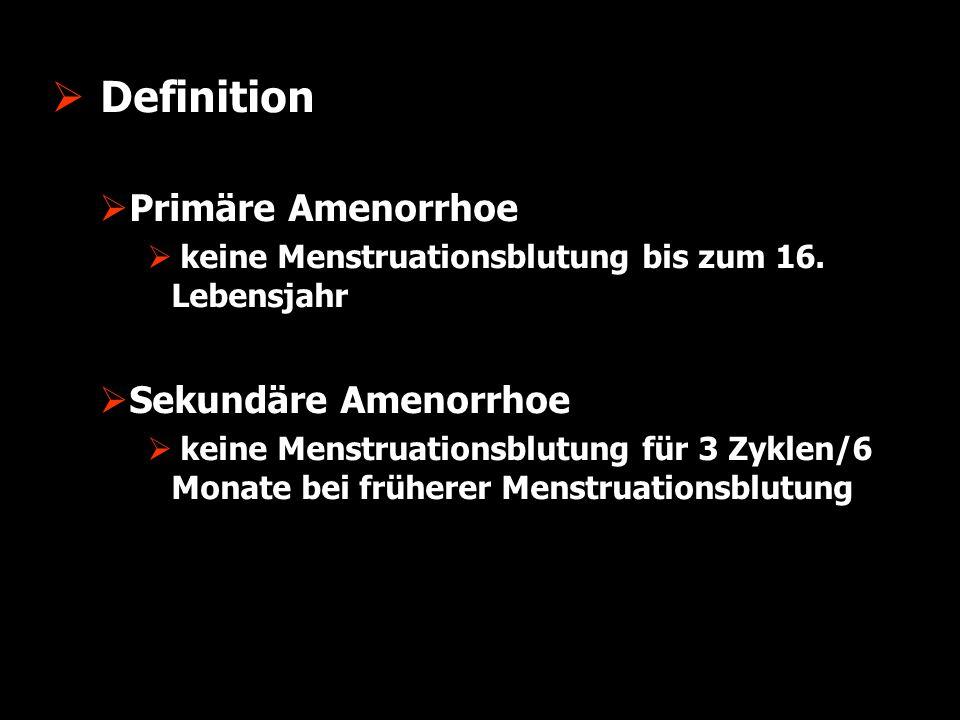  Ovarielle Insuffizienz  WHO I  Hypothalamus/Hypophyse Insuffizienz  WHO II  Hypothalamus/Hypophyse Dysfunktion  WHO III  Ovarielle Insuffizienz  WHO IV  Hyperprolaktinämie  WHO V-VII